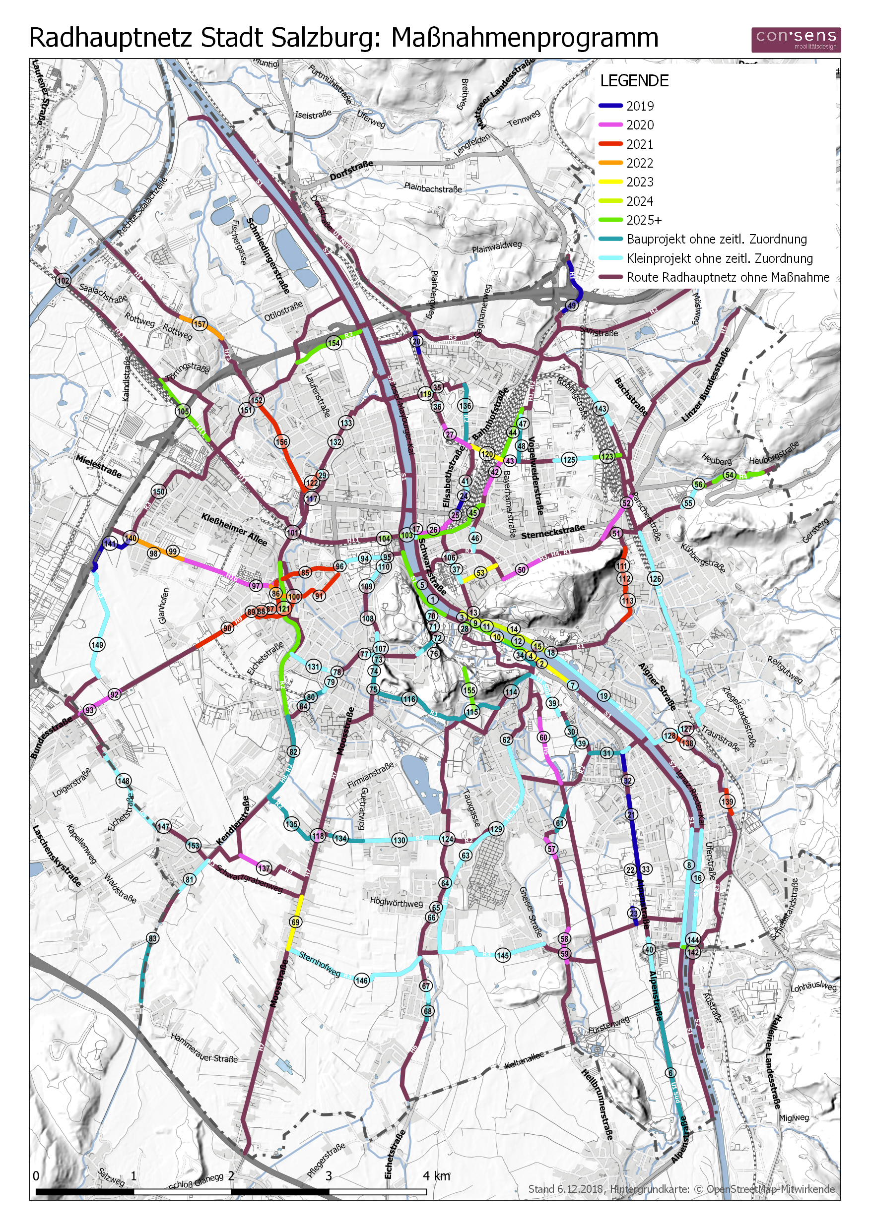 A first glance of the new main cycling network in Salzburg