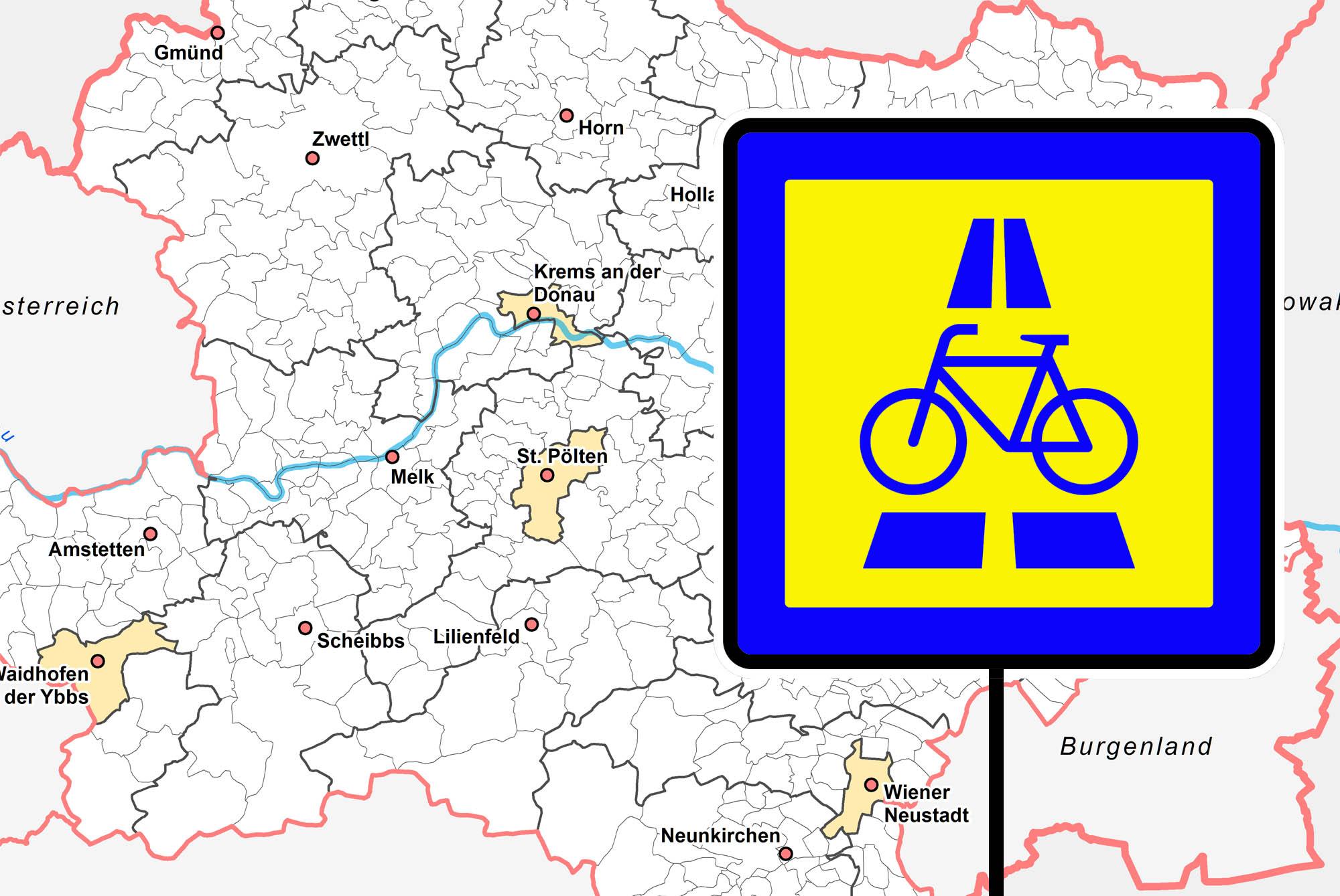Elf Radschnellweg-Regionen für Niederösterreich