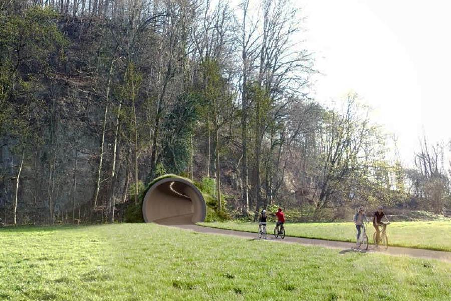 Fahrradtunnel, Radschnellweg und Auszeichnung